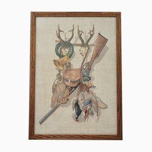 Vintage Framed Hunting Trophies Embroidery by Eva Rosenstand, England, 1950s