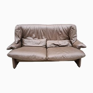 Chocolate Brown Leather 2-Seater Sofa by Vico Magistretti for Cassina