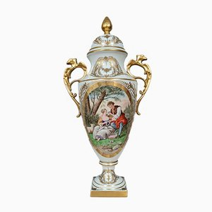 Covered Ovoid Vase in White Porcelain and Gold with Foliage and Flower Decoration
