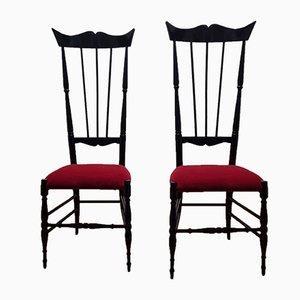 Vintage Chiavari Stühle mit hoher Rückenlehne, Italien, 1950er, 2er Set