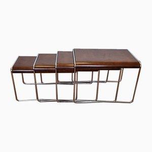 Mid-Century Bauhaus Style Nesting Coffee Tables, Italy, 1960s, Set of 4