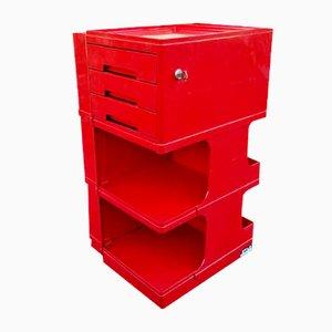 Roter italienischer Vintage Bürowagenschrank von Pellis Giovanni für Stile Neolt, 1960er