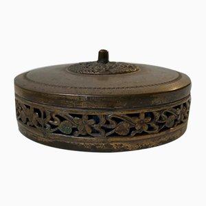 Antike skandinavische Schmuckdose aus Bronze und Messing, 1920er