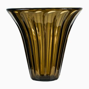Amber Crystal Glass Vase from Daum Nancy, France, 1930s
