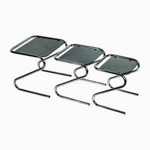 Chrome & Glass Z Shaped Nesting Table Set in the Style of Milo Baughman