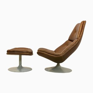 Artifort F510 Swivel Chair and Ottoman in Cognac Leather by Geoffrey Harcourt, Set of 2