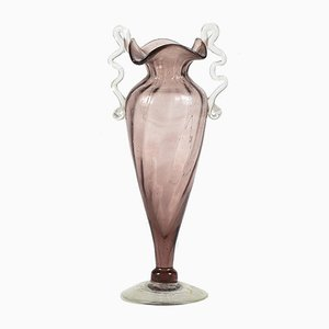 Murano Glass Pink and Transparent Color Jar, Italy, 1930s