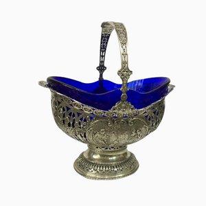 Antique Silver and Cobalt Blue Glass Fruit Basket