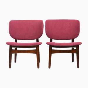 Danish Easy Chairs with Shell Backrests, 1950s, Set of 2