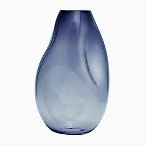 Vase Supernova IV L Bleu Fumé Argenté par Simone Lueling pour Eloa