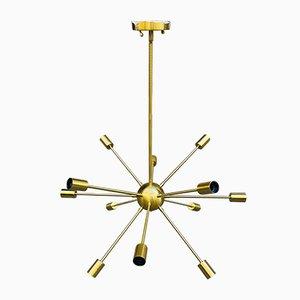 Brass 12-Light Sputnik Lamp, 1970s