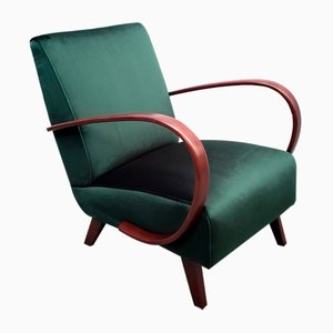 Bentwood Armchair in Green Velvet by Jindřich Halabala for Thonet, 1930s