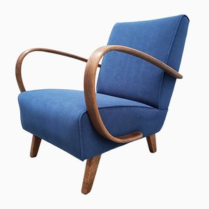 Bentwood Armchair in Navy Blue Velvet by Jindřich Halabala, 1930s