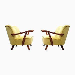 Mid-Century Cocktail or Club Chair in Yellow Velvet, 1960s