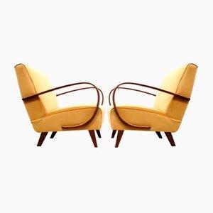 Bentwood Armchair in Golden Sand Velvet by Jindřich Halabala, 1930s