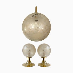 Vintage Pendant & Table Lamps in Brass & Glass, 1960s, Set of 3