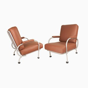 Art Deco Leather Lounge Chairs from Warren McArthur, 1930s, Set of 2