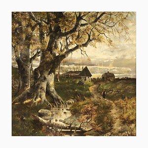 Französische Landschaftsmalerei, Öl auf Leinwand