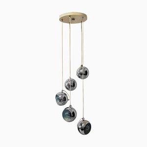 Italian Chrome Five-Globe Lamp from Guzzini, 1965