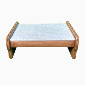 Table Basse en Cuir et Travertin de De Sede
