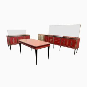 Credenzas with Mirrors and Table by Umberto Mascagni for Harrods, Set of 5