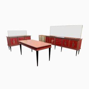 Credenze con specchi e tavolo di Umberto Mascagni per Harrods, set di 5