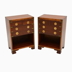 Antique Military Campaign Style Bedside Cabinets, Set of 2