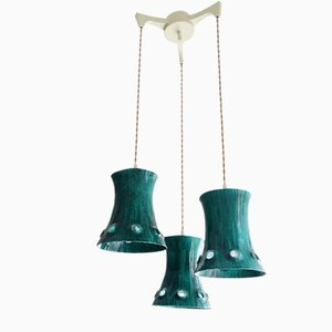 Large Mid-Century Green Metal Cascading Lamp, 1960s