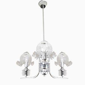 Mid-Century Portuguese Glass and Chrome Chandelier, 1960s