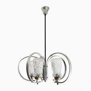 Großer moderner Mid-Century Sputnik Kronleuchter aus Aluminium & Glas, 1950er