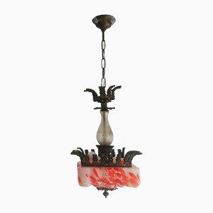 Large Art Nouveau Murano Glass and Bronze Pendant Lamp, 1920s