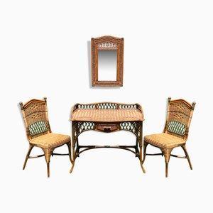 Wicker Writing Desk or Vanity Set in the Style of Grange, Set of 4