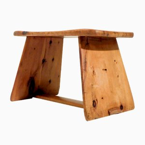 Vintage Swiss Wooden Stool or Side Table