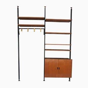 Teak Floor-to-Ceiling Entryway Bookcase with Coat & Shoe Racks, 1950s