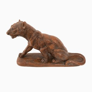 Art Deco Tiger Sculpture in Clay by Clem, France, 1920s or 1930s