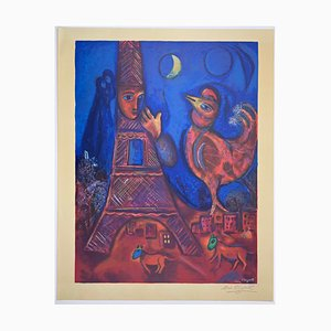 Marc Chagall, Bonjour Paris, Original Lithograph with Signature Stamp, Limited Edition