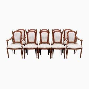 Esszimmerstühle aus Mahagoni mit 2 Schnitzern, 1960er, 10er Set