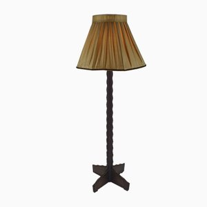 Dutch Amsterdamse School Black Oak Floor Lamp, 1930s
