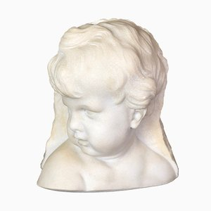 Bust of Putto or Little Girl in White Carrara Marble, 1940s