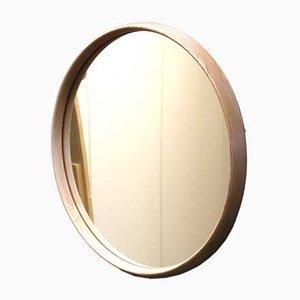 Vintage Scandinavian Wooden Round Mirror, 1970s