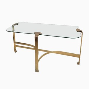 Large Vintage Flat Bar Gold & Bevelled Glass Console Table with Scallop Shell Motifs, USA, 1980s