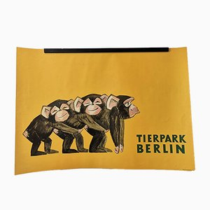 Vintage Tierpark Berlin Zoo Poster Depicting Baby Chimpanzees, 1970s
