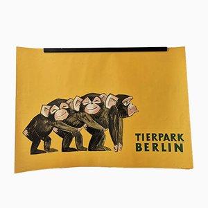 Vintage Tierpark Berlin Zoo Poster mit Baby Schimpansen, 1970er