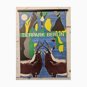 Póster del zoológico de Berlín Tierpark vintage con antílope, años 70