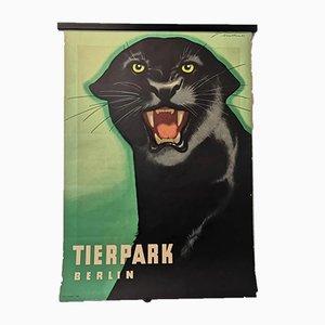 Vintage Tierpark Berlin Zoo Poster Depicting Panther, 1963