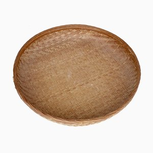 Vintage Wicker and Bamboo Round Basket