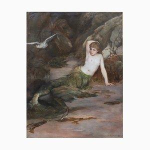 Peinture Sirène Signée & Encadrée par Charles Napier Kennedy, 1888