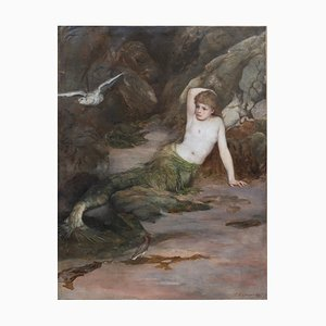 Signed & Framed Mermaid Painting by Charles Napier Kennedy, 1888