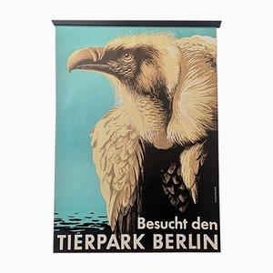 Póster del zoológico de Berlín Tierpark vintage con buitre, años 60