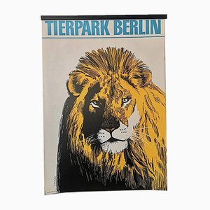 Póster del zoológico de Berlín Tierpark vintage con buitre